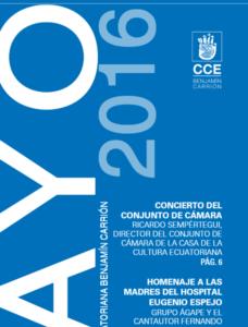 Agenda Cultural Mayo – Casa de La Cultura Ecuatoriana Benjamín Carrión