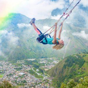 Baños, Tungurahua, Ecuador Head in the clouds 💖 Extreme zip-lining over waterfalls in Baños, Ecuador! 🐢 #ecuador